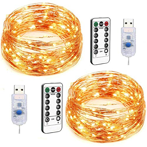 LED String Lights, 2 Pack 100 LED USB String Lights with Remote Fairy Lights, 33ft 8 Modes Dimmable Copper Wire Lights, Twinkle String Lights for Bedroom Patio Parties Warm White