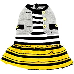 SMALLLEE_Lucky_Store Pet Clothes for Small Dog Cat Elegant Cotton Fold Striped Skirt Dress Grey & Yellow M