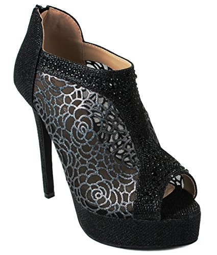Evening Dress Bootie Platform Glitter Black Flower Mesh Rhinestone High Peep Sandals Heel Toe Dido04 Bqwv6gzRc