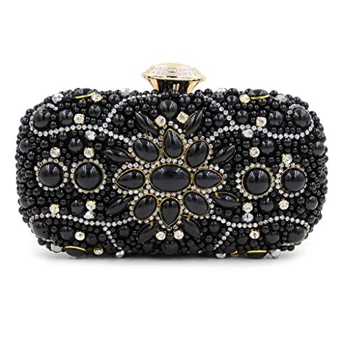 Black Palace Opponent'S Fan Evening Embroidered Industries JUZHIJIA Bag Jewel Banquet Pearl Heavy Diamond Gift Hand Bag ZqdxOBnAC