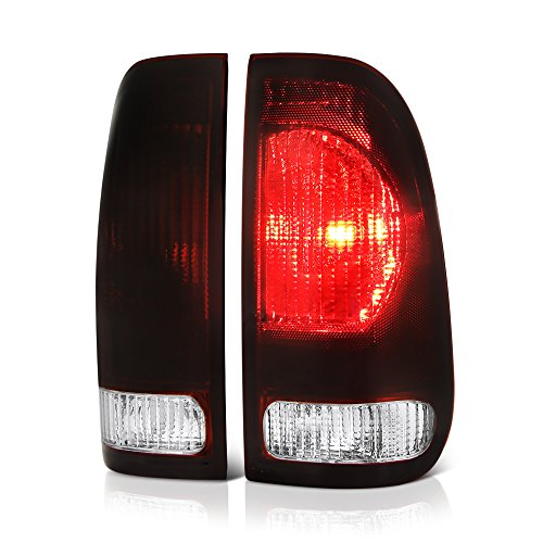 VIPMOTOZ For 1997-2003 Ford F-150, 1999-2007 Ford F-250 F-350 Superduty Tail Lights - [Factory Style] - Rosso Red Housing, Smoke Lens, Driver and Passenger Side