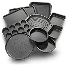ChefLand 10-Piece Non-Stick Bakeware Set, Oven Crisper, Pizza Tray, Roasting, Loaf, Muffin, Square, 2 Round Cake Baking Pans, Large and Medium Nonstick Cookie Sheet Bake Ware for Home Kitchen Use
