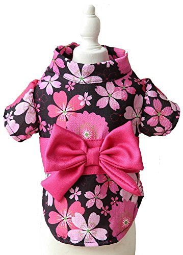 MaruPet Brocade Japanese Kimono for Girl Floral Pet Halloween Costume Bowknot Dog Dress for Small, Extra Small Dog Wiener Dog Teddy, Pug, Chihuahua, Shih Tzu, Yorkshire Terriers, Papillon Black S ()