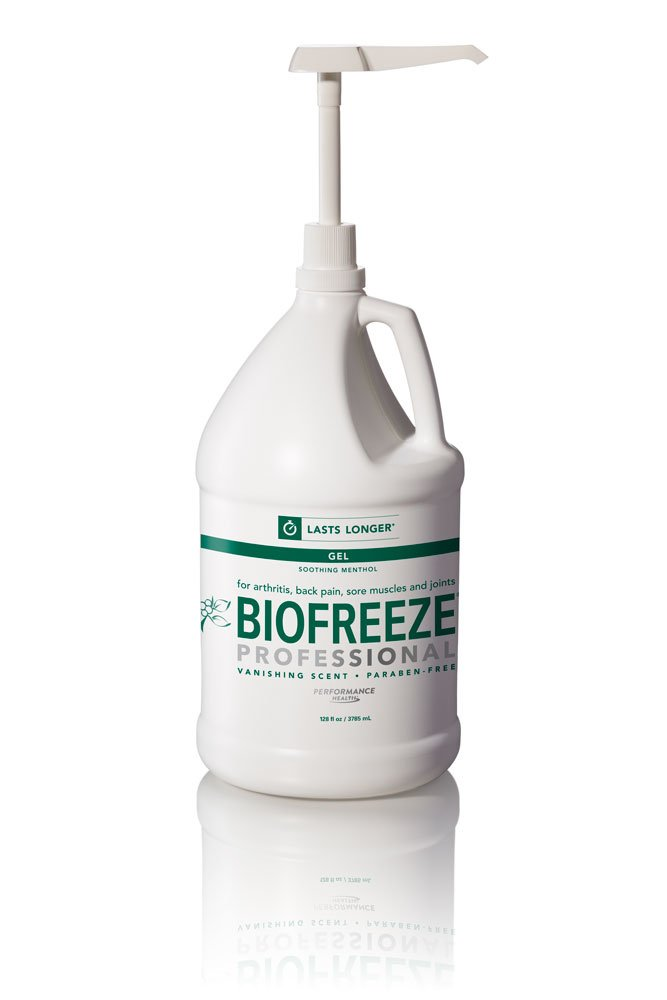 Biofreeze Professional Pain Relieving Gel, Topical Analgesic for Quick Relief of Arthritis, Muscle, & Joint Pain, NSAID Free Pain Reliever Cream, 1 Gallon Bottle, Original Green Formula, 5% Menthol by Biofreeze