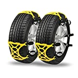 Snow Chains for Universal Tires - Emergency Anti-Skid Chains Thickening Car Wheel Snow Chains Adjustable - CARSUN 6 Pack Light Yellow Snow Chains, 1 Pair Black Glove, Bag include User Manual