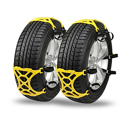 Snow Chains for Universal Tires - Emergency Anti-Skid Chains Thickening Car Wheel Snow Chains Adjustable with User Manual, 6 Pack Snow Chain, 1 Pair Black Glove and Portable Pouch (For Tires Trucks And Wheels)