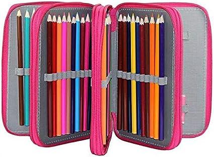 Caxmtu - Estuche de nailon con 72 agujeros para lápices de colores, 4 capas, color rosa rojo: Amazon.es: Oficina y papelería