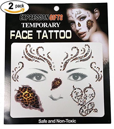 [Cheetah Print - 2 Pack Face Tattoos] (Two Face Costume For Kids)