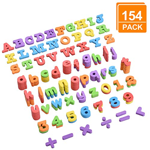 - [154 Pcs Magnetic Letters and Numbers], DealKits Educational Foam Alphabets ABC Magnets with Uppercase Lowercase Math Symbols for Kids Toddlers Gift Blocks Set for Fridge Bath Dry Erase Magnetic Board