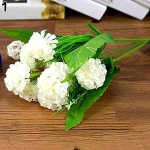 Connoworld--1 Bunch 9 Head Artificial Hydrangea Silk Flower Bouquet Wedding Party Decor - White 12