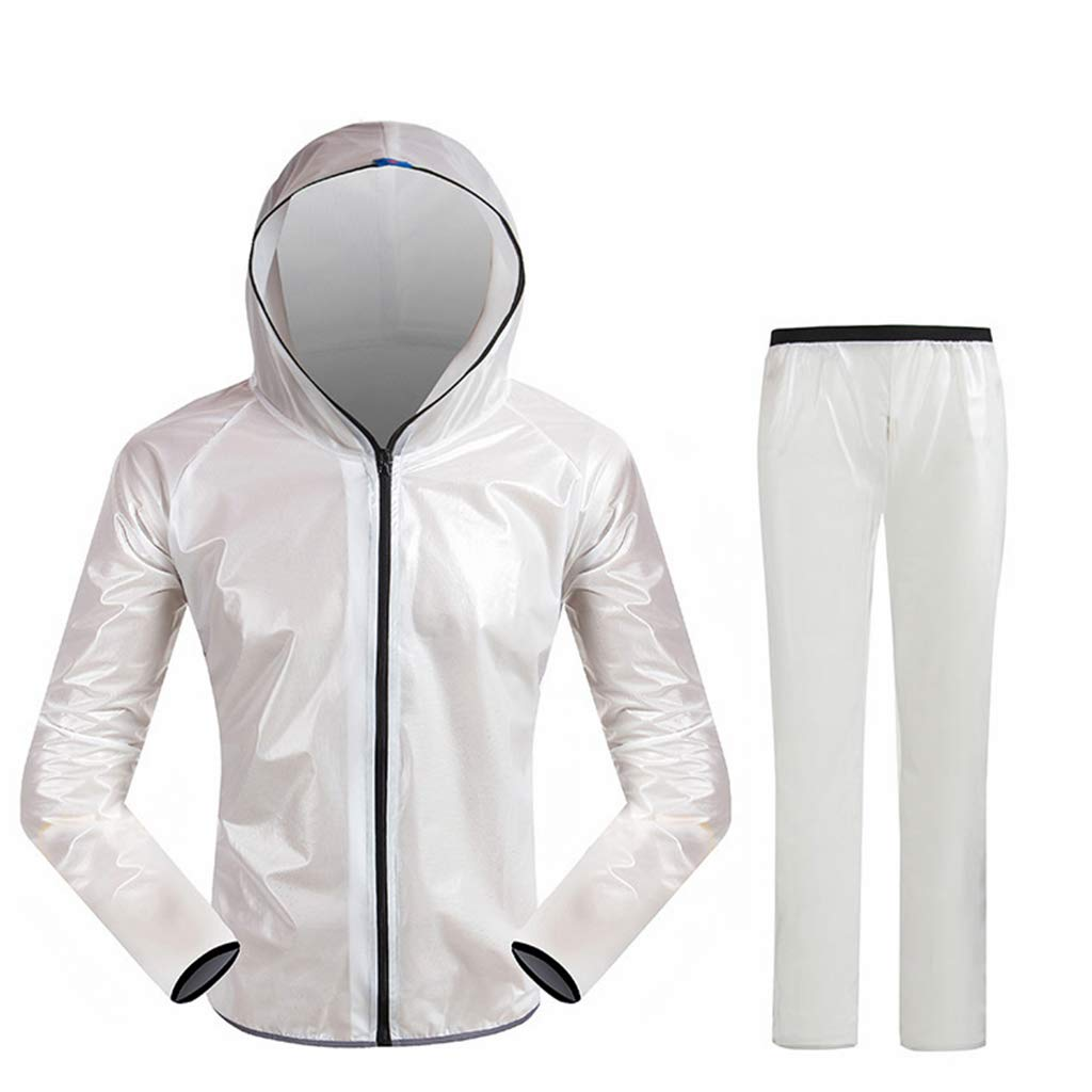 Blanc XXXL Dongyd Les hommes et les femmes chevauchant un ensemble imperméable fendu, une veste de pluie à capuchon imperméable pour adulte et un costume de pantalon, des vêteHommests de pluie résistants aux intemp