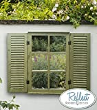 Reflect Garden Mirror - Real Glass Low Distortion Country Window Illusion Mirror with Wooden Shutters & Frame - 2ft 4in x 1ft 6in