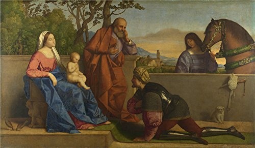Polyster Canvas ,the Best Price Art Decorative Canvas Prints Of Oil Painting 'Vincenzo Catena A Warrior Adoring The Infant Christ And The Virgin ', 12 X 21 Inch / 30 X 52 Cm Is Best For Hallway Decor And Home Decor And Gifts