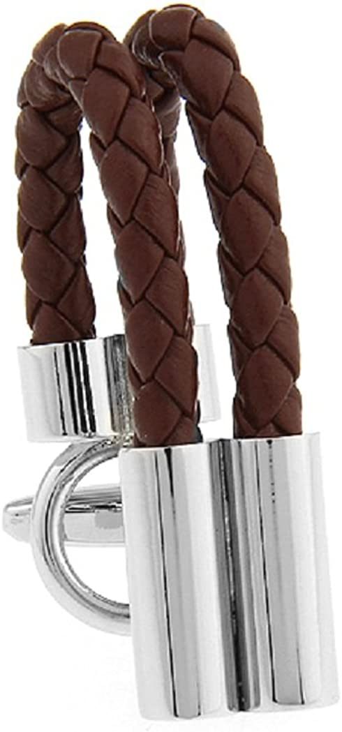 MRCUFF Leather Braided Brown Pair Cufflinks in a Presentation Gift Box & Polishing Cloth