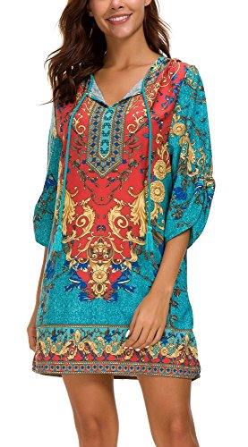Women Bohemian Print V Neck Casual Dress Ethnic Style Summer Tunic Top (L, 2) -