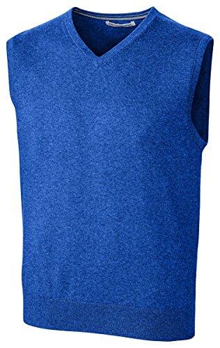 (Cutter & Buck Men's Cotton-Rich Lakemont Anti-Pilling V-Neck Sweater Vest, Tour Blue, Large)