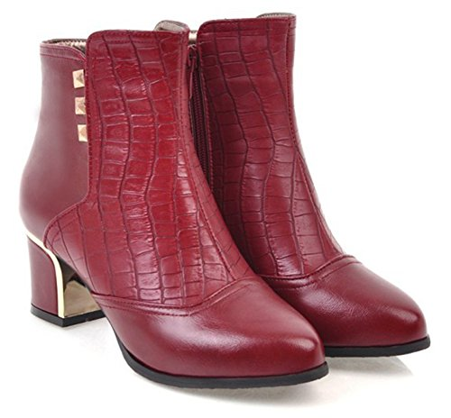 Mid Block Studded Red Fashion Aisun Heel Zip Dress Womens Inside Ankle Toe Booties Up Boots Round wHzqx8AE