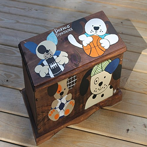 [Stained Sports and Dog Theme Toy Bench, Toy Box, Treasure Chest perfect for storage organization, dress up clothes, cars, figurines,] (Dress Up Themes)