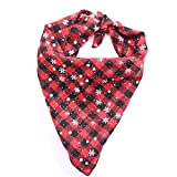 Glumes Pet Dog Cat Bandana Triangle Bibs Scarf Christmas Snowflake Printing Puppy Kerchief Neckerchief Suitable Cats Small Medium Large Dogs Party Costume Photo Props (S, Red)