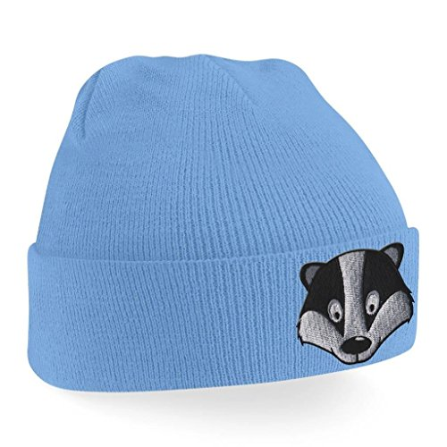 Badger Face Cute Animal Embroidered Beanie Hat Logo Men's - Sky Blue