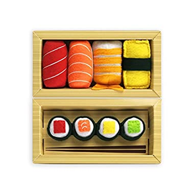 Sushi 8 Pc Cat Toy Set | 4 Pc Sushi Nigiri Set Infused with Catnip and 4 Pc Maki Sushi with Bells | 8 Pc Sushi Cat Toys for Cats