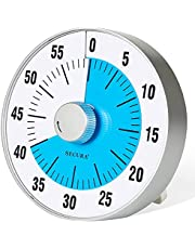 Secura 60-Minute Visual Countdown Timer 7.5 Inch Oversize Time Management Tool for Kids, Teachers and Adults