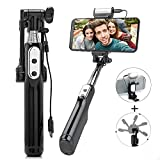 Selfie Stick Bluetooth Travel Portable with Led Fill Light and Mirror Selfie Stick for iPhone X/8/8Plus/7/6S/6Plus,Samsung Galaxy S9 S8 S7 S6,Huawei ect(Black)