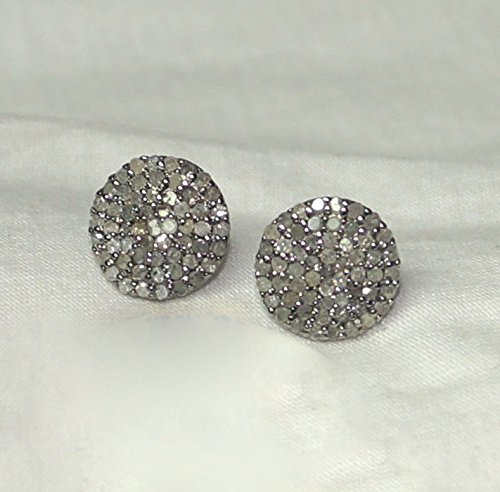 3df1a94bb Image Unavailable. Image not available for. Color: Pave Diamond Sterling Silver  Round Disc Stud Earrings