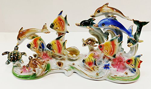 Feng Shui Ocean with Dolphins, Turtles and Fishes - Hand Crafted and Decorated Chinese Porcelain, Figurine 11005 (Dolphin Porcelain Figurines)
