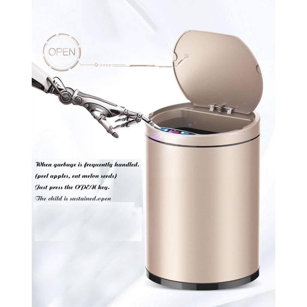 Aufbewahren & Ordnen Farbe : Gold Abfall & Recycling LYQ Kleine automatische Mülleimer 9L Touchless Fingerabdruck-Nachweis intelligente Induktion Müllcontainer mit inneren Eimer Umwälzpumpe ruhigen Deckel zu schließen