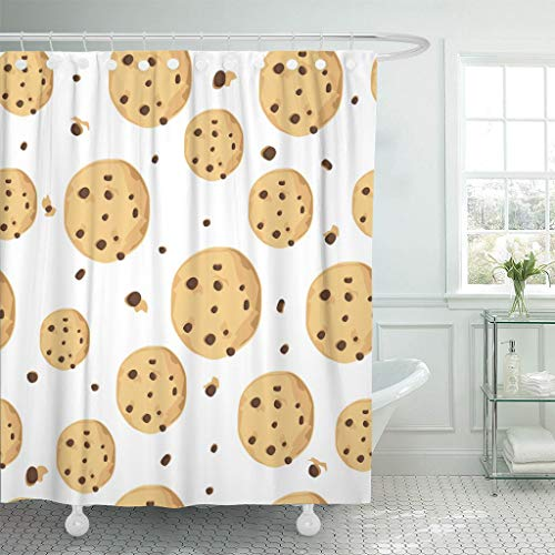 Emvency Fabric Shower Curtain with Hooks Brown Dessert Cute with Chocolate Chip Cookie Freshly Baked Choco Food Pattern Backed Extra Long 72