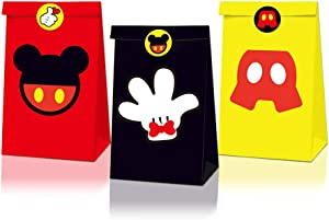 12 pcs Mickey Gift Bag,Mickey Theme Birthday Party Snack Bags,Mickey Party Party Supplies