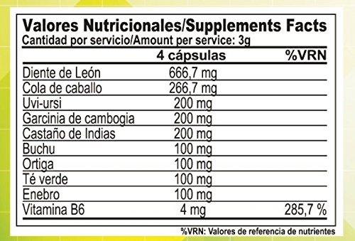 Multi Diuretic con vitamina B6 - Quemagrasas - Diurético - Antioxindante - Salud del sistema urinario |100% natural y vegetal| 180 Cápsulas.