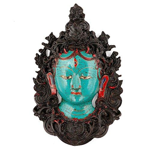 (CraftVatika Turquoise Tara Buddha Wall Mask Green Face Tibetan Lady Unique Himalayan Peace Resin Wall Hanging )