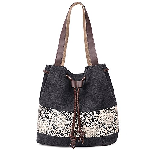 Hiigoo Printing Canvas Shoulder Bag Retro Casual Handbags Messenger Bags (Black) -