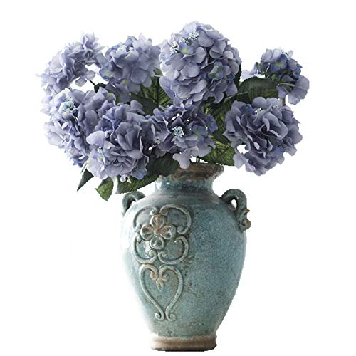 Crt Gucy Artificial Flowers 18 Silk 6 Big Heads Fake Silk Hydrangea Bouquet for Wedding, Room, Home, Hotel, Party Decoration, Blue