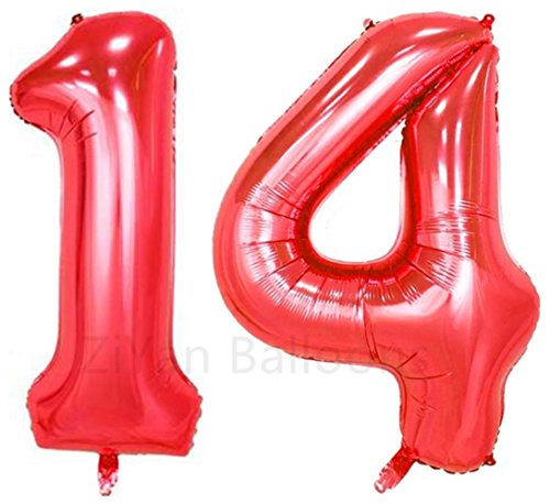 ZiYan 40inch Red Number 14 Balloon Party Festival Decorations Birthday Anniversary Jumbo foil Helium Balloons Party Supplies use Them as Props for Photos]()