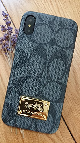 Gibbon iPhoneX/XS - US Fast Deliver Guarantee FBA- New Elegant Luxury Designer PU Leather Monogram Style Cover Case for Apple iPhone X iPhone Xs iPhone 10 ONLY (CO Badge Black) ()