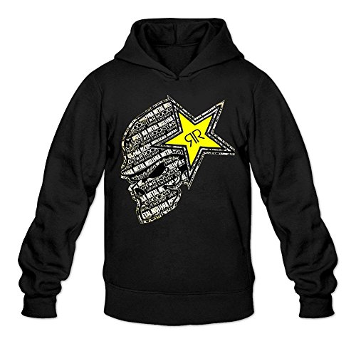 Kittyer Men's Rockstar Energy Drink Long Sleeve Sweatshirts Hoodie