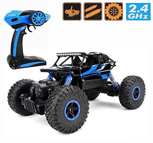 Augenblick 1/18 Scale Electric RC Car Off-road Vehicle RTR 2.4Ghz 4WD All-Weather R/C Bigfoot SUV Electric Master Rock Crawler Buggy Hobby Car Fast Race Truck Ready To Run ()