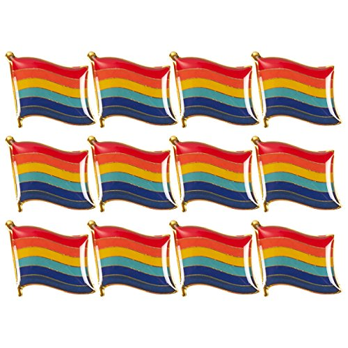 Rainbow Flag Pin - Rainbow Flag Pins – 12-Pack Gay Pride Lapel Pins, LGBT Lapel Pin Iron Buttons, LGBT Pins, LGBTQ Pride Parade, Multicolored - 0.7 x 0.38 x 0.7 inches