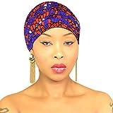 DESIGN 35 Orange Purple Head Wrap | 100% Cotton HEAD SCARF | Royal Head Wraps