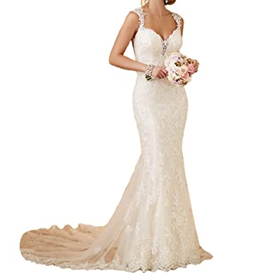 6f8fe7be6ae8 Ryanth Sexy Open Back Lace Mermaid Wedding Dresses 2018 Bride Dress Beach  Long Train Wedding Gowns at Amazon Women's Clothing store: