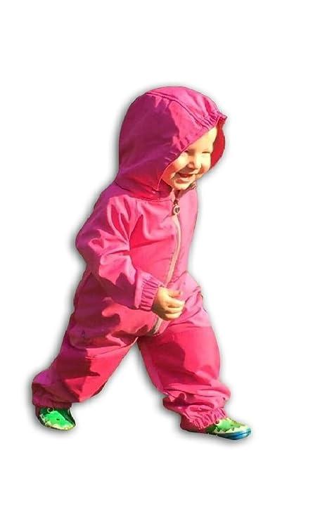 bobisch Baby Kinder Jungen und Mädchen Softshell Overall Jumpsuits mit Kapuze - in verschiedenen Größen und Farben