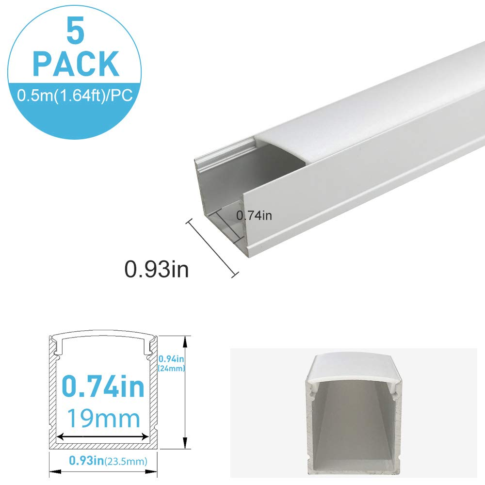 inShareplus U Shape LED Aluminum Channel System With Milk White Cover, End Caps and Mounting Clips, Aluminum Profile for LED Strip Light Installations, U06 Model, 5 Pack, 1.64ft/0.5 Meter, Silver