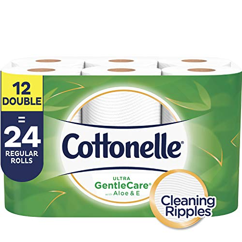 (Cottonelle Ultra GentleCare Toilet Paper, Aloe & Vitamin E, 12 Double Rolls)