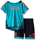 adidas Toddler Boys' Tee and Active Short Set, Teal, 2T