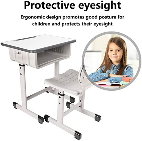 Kids Desk And Chair Set Height Adjustable Ergonomic Children Sturdy Table, Childs Study School Desk Kids Art Writing Desk (Gray-A)