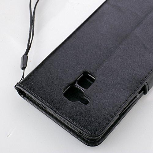 Erdong® Magnético Folio Flip Caso Con pata de cabra titular de la tarjeta Para Huawei GT3 & (Honor 7 Lite), Elegant Simple Book-style [Negro flor de mariposa] patrón de impresión cuero del soporte Fol