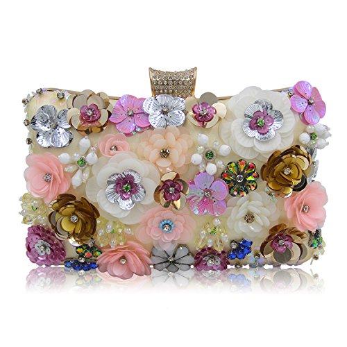 Milisente Women Clutches Colorful Flower Evening Bag Sequins Satin Clutch Purse